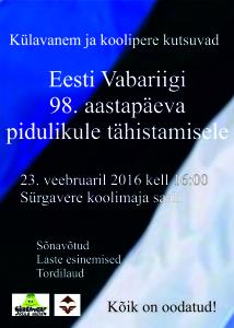 Vabariigi 98. aastapäev 2016